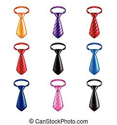 cravate, vecteur, ensemble, icônes