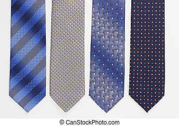 cravates, blanc, groupe, coloré