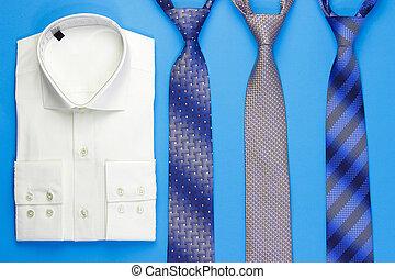 cravates, groupe, chemise, coloré
