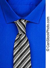 cravatta blu, camicia bianca, isolato