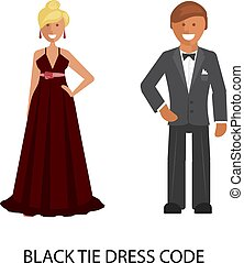 cravatta, codice, vestire, nero