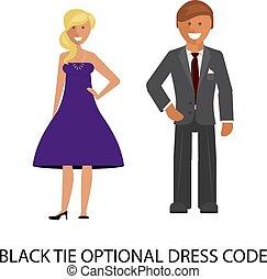 cravatta, codice, vestire, optional, nero