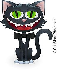 cravatta, gatto, nero, cartone animato, arco