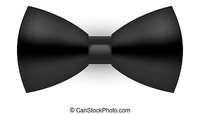 cravatta, semi-realistic, nero, arco