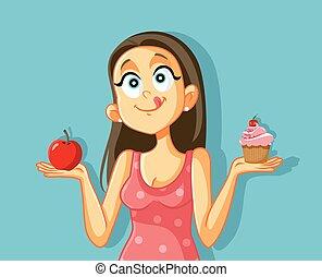 Craving Girl Choosing Between Apple and Muffin Cake