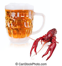 crawfish and beer - red boiled crawfish and mug of beer over...