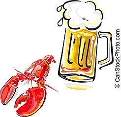 Crawfish and beer - Vector illustration of crawfish and mug...