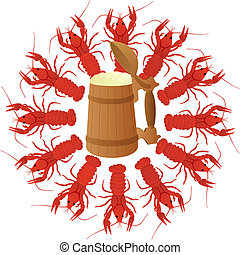 Crawfish and Beer - Wooden mug of beer surrounded by boiled...