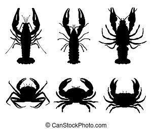 crawfish and crab - Black silhouettes of crawfish and crab,...