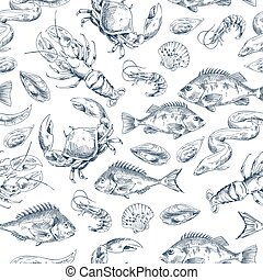 Crawfish and Fishes Sketch Vector Illustration