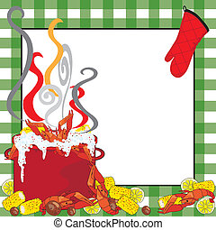 Hot steamy kettle of crawfish with a green tablecloth frame