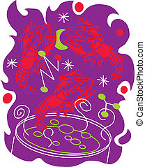 Crawfish Boil - Stylized art of crawfish being dropped into ...