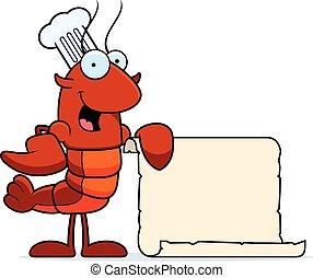 Crawfish Chef Recipe - A cartoon illustration of a crawfish...