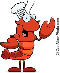 A cartoon illustration of a crawfish chef waving.