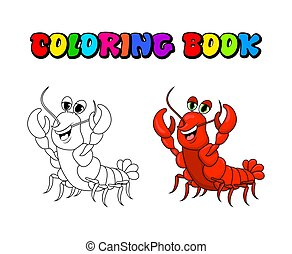 crawfish coloring book cartoon cute character illustration isolated on white background