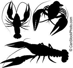 crawfish, crayfish silhouettes isolated on white