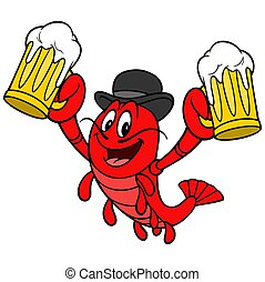 A cartoon illustration of a Crawfish with a couple of mugs of Beer.