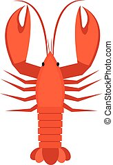 Crawfish icon flat style. Lobster isolated on white background. Vector illustration, clip art.