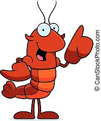 Crawfish Idea - A cartoon illustration of a crawfish with an...