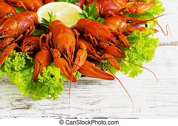 crawfish on wooden background - crawfish on wooden white...