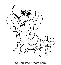 crawfish outline cartoon cute character illustration isolated on white background