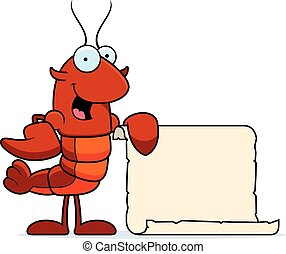 Crawfish Recipe - A cartoon illustration of a crawfish with...