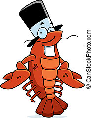 Crawfish Smiling - A cartoon crawfish with a top hat smiling...