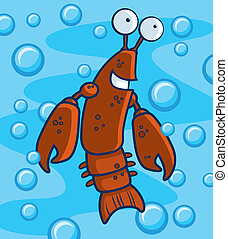Crawfish Underwater - A happy cartoon crawfish underwater...