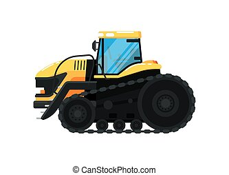 Crawler agriculture tractor vector illustration