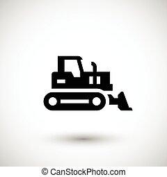 Crawler bulldozer icon isolated on grey. Vector illustration