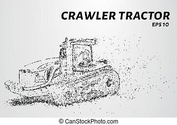 Crawler tractor from the particles. Agricultural machinery breaks down into small molecules. Vector illustration