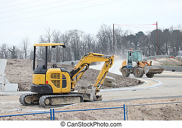 Crawlers on a construction site