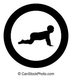 Crawling baby icon black color in circle