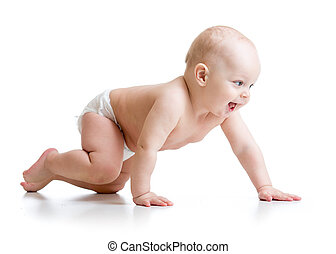 crawling baby isolated on white background