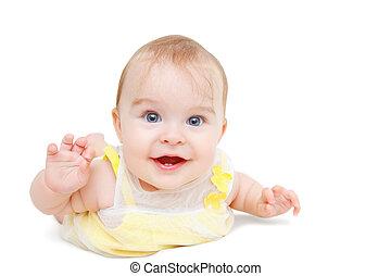 Crawling baby on white background