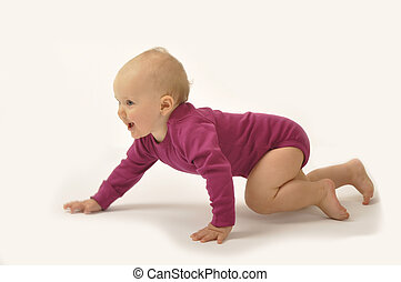 crawling baby - violet dressed baby is crawling on the flor