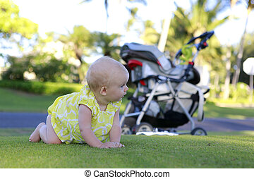 Crawling beautiful baby girl
