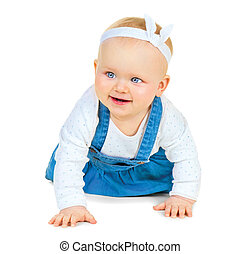 Crawling cute baby girl isolated on white background