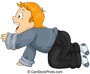 Crawling Kid - Illustration of a Little Boy Crawling on the...