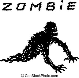 crawling legless black zombie silhouette