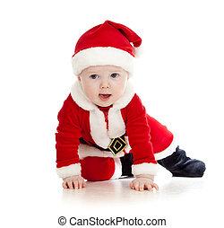 crawling Santa Claus baby boy