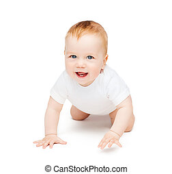 child and toddler concept - crawling smiling baby