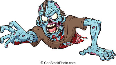 Cartoon crawling zombie. Vector clip art illustration with simple gradients. All in a single layer.