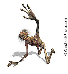 Crawling Zombie - A zombie crawls out of the grave and...