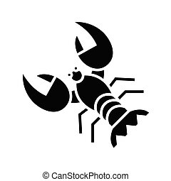 Crayfish black icon, concept illustration, vector flat symbol, glyph sign.