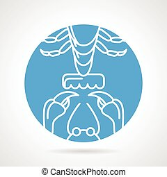 Crayfish claws and tail elements. Abstract blue round vector icon on gray background.