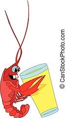 crayfish isolated white background