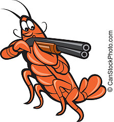 Illustration of a crayfish lobster aiming pointing shooting shotgun on isolated white background done in cartoon style.
