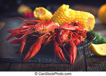 crayfish., pomme terre, creole, maïs, bouillir, style, ...