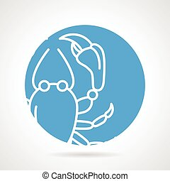 Crayfish round vector icon
